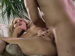 Turned on cheating blonde milf Julia Ann with big perfectly shaped knockers and bouncing ass gives head to neighbor and rides on his stiff cock while her hubby is at work.