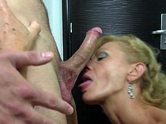 Skinny and with a lot of sexual experience the mature whore Katelyna knows what she wants from a man. The bitch stays up on her feet and receives a mean rimjob before kneeling for cock. watch her sucking and swallowing that dick with so much lust, it's clear that she desires loads of spunk in her slutty mouth
