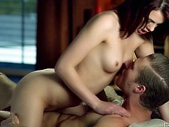 Torrid pale brunette Kiera Winters gets absorbed with riding a dick