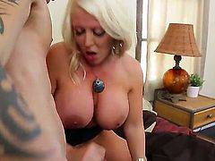 Full figured blonde milf Alura Jenson with big fake gazongas and round bouncing ass in stockings gives head to Cody Sky with muscled body and gets rammed to loud orgasm.