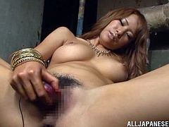 Beautiful Japanese milf lets some guy watch her playing with her vag. Then she gets on her knees in front of him and sucks and rubs his manhood till it explodes with jizz on her awesome breasts.