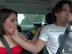 Gorgeous and nasty brunette babe gets seduced and picked up by Manuel Ferrara and gives him a slutty blowjob session in the car while hes driving to his place