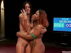 Lyla Storm and Yasmine Loven have a battle. Of course Black girl wins because she is much bigger and stronger. So, Lyla sucks a strap-on and gets her pussy drilled.