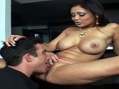 Mind taking Indian babe gets lured by aroused white dude. He mauls her big milky tits intensively from behind before she sits with legs spread aside to get her bald cunt tongue fucked.
