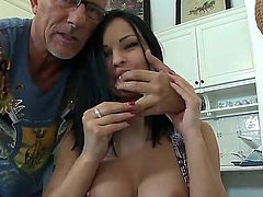Black haired flexible slut Abbie Cat with big hooters and long legs in black undies and high heels teases Christopher Clark with her her feet and gives him head in pov.
