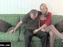 Horny blonde loves stroking her guy's cock in amazing hardcore handjob scene