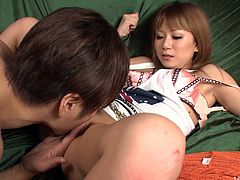 Japanese hot number welcomes a rim job in doggy style before she lies on her back to get her soaking vagina fingered. Later she kneels down to give him zealous blowjob.
