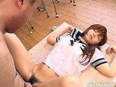 Steamy Japanese chic squirts intensively after a steamy fuck in missionary style before she gets on horny dude to give him a cowgirl ride in sultry sex video by Jav HD.