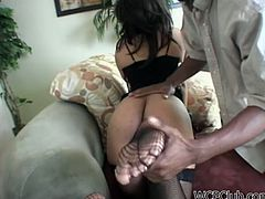 Horny black chick with nice rounded ass looks rather gorgeous while wearing stockings and sexy stuff. Ardent nympho with sweet tits desires to be fed with sperm. She kneels down and gives a solid blowjob to a fat black dick passionately, as if it's her last day.