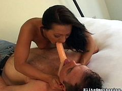 Having horny slave to obey her desires makes naughty babe to go wild in femdom porn