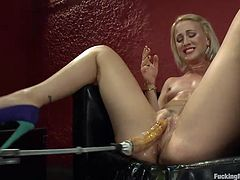 When hard cocks are not enough for her Dylan uses her fucking machine. The rhythm and roughness of the mechanism always makes her climax! The blonde loves to rub her clit as the dildo strapped to the machine drill her pussy and when she needs it harder she inserts an anal plug in the ass and continues