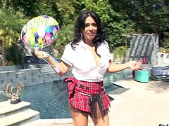 Nasty brunette honey Sienna West enjoys in playing with her sexy big ass and her lollipop outdoor in front of the cam by the pool and teases Manuel Ferrara