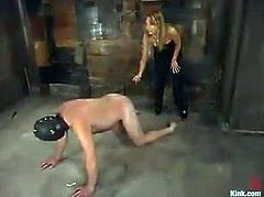 The naughty girl in this video is going to play with her sex slave, putting a mask on him, tying him up and spanking his butt.