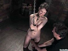 Charming girl Kristine is playing dirty games with Steve Holmes in a basement. She lets the man tie her up and play with her holes and then enjoys some ardent doggy style banging.