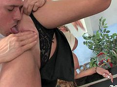 Darla Crane is a hot bodied mature woman. Guy pulls her black panties aside and plays with her many times used mature pussy. Darla Crane gets her snatch licked and fingered from behind.