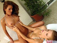 They are horny and eager to fist their twats in amazing lesbian masturbation