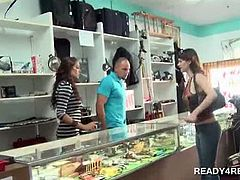 Cute horny couple picking up a hot chick for paid sex in a store