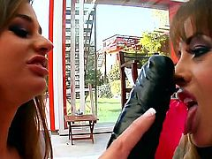 Cathy Heaven and Megan Cole are crazy ass lesbian bitches who love to get toyed by a huge black dildo