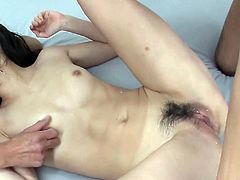 Playful Japanese amateur in peppering white lingerie gets her bearded vagina tongue fucked while giving a blowjob before she stands in doggy pose to keep sucking a strain dick while getting fucked from behind in steamy MMF sex video by Jav HD.