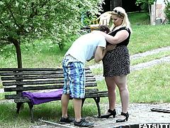 Blonde bbw rebecca smothers her man with her tits