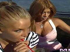 Lisa Daniels, Cassidy and Joeleana are three beautiful milfy blondes. Round assed woman takes off her string thing and then gets her perky natural tits touched by her lesbian friends.