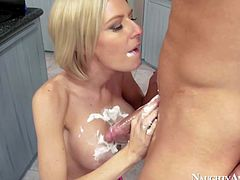 Hot and arousing blonde babe Riley Evans seduces Bill Bailey in her kitchen and getting to play with his hard rod and some whipped cream during her hot cock sucking session