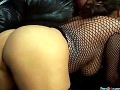 Pornstar sex clip provides you with two dick hardening hotties. Wearing fishnet stockings and heels perverted dark skinned lesbos desire to please each other. It's high time to eat and spoon wet juicy pussies right on the couch, playing with boobs and gain dozen of pleasure.