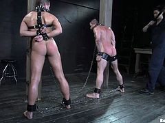 Pure torture and pleasure for these kinky gay studs in this bondage video where I'm sure you'll have fun watching.