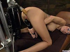 Gia is hard to satisfy, when she can't reach climax with the good old fashion fuck this whore uses her fucking machine. Here she is bent over with that sexy ass up and enjoying a deep hard fuck. The fucking machine drills her ass and than thick big dildo is ripping her pussy while she rubs her clit with a vibrator