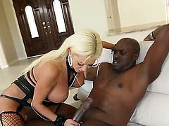 Tight blonde Lexington Steele is having wild fuck and suck actions with her strong black friend Nikita Von James