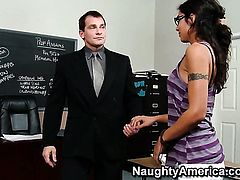 Lou Charmelle and hard cocked dude Evan Stone are horny for each other in anal action
