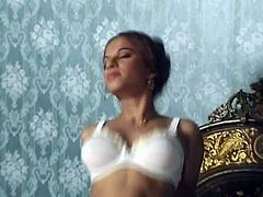This incredibly hot Indian babe in sexy white stockings is very impressed by the size of her boyfriend's dick and she can't resist trying it out. She gets down on her knees to give a nice blowjob and then she climbs on top and rides him hard in reverse cowgirl pose.