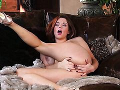 Sabrina Maree with big melons and bald muff enjoying great solo session