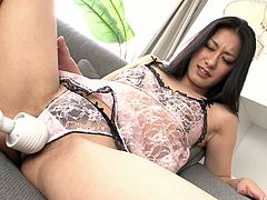 Salty Japanese babe Ishiguro Kyoka gets her cunt tickled with vibrator