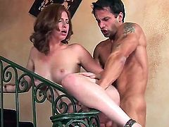 Extremely hot pounding with Ginger Blaze would make you feel so horny! Hugecocked man undresses the girlie before starting to stuff her luscious snatch by fat rod.