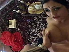Hypnotizing Indian milfie babe Priya Rai sucks a big dick in 69 position. Her awesome booty is on the face of that lucky white guy!