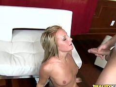 Naughty blonde shakes her ass and fingers her vagina. Then she gives messy blowjob and gets fucked deep in her soaking pussy.