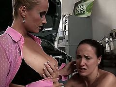 Brunette Katy Parker with gigantic tits wants Andy Brown to lick her hole forever