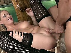 Blonde stunner Lucy Heart takes dudes rock hard worm deep down her throat