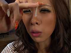 Submissive Japanese amateur kneels down in front of a crowd of horny dudes to oral fuck their sturdy cocks in turns before they ejaculate into her mouth in peppering gangbang sex clip by Jav HD.