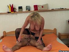 Old bitch is seduced by a young guy and reveals her slutty side on camera. She gets naked put his cock in her mouth and rides that cock with her old wrinkled pussy.