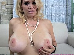 Hot Charlee Chase shakes her ass and massages big boobs. Then this hottie gives blowjob & titjob combo to some dude in POV video.