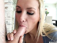 Blake Rose with juicy bottom tries her hardest to make horny dude bust a nut with her mouth