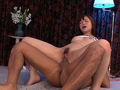 Sexploitress Japanese harlow gets drilled in doggy style before she rides a hard cock in reverse cowgirl style while giving blowjob to sturdy penis in steamy treesome sex video by Jav HD.