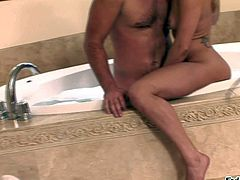 Manuel Ferrara enjoys in spending his money in a massage and spa center with hot arousing blonde sucking his hard rod and a nasty brunette giving him a hot massage session