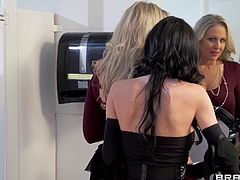 A polite conversation degenerates into a lustful fuck. These well educated milfs are having a lot of sexual tension between them and they meet in the bathroom where things get heavy! The brunette one approaches the blonde, licks her neck and then her boobs and pussy. Curious what's next?