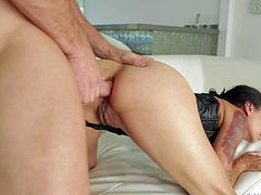 Dana Vespoli gets her fucked fucked deep and rough by elegant hard dicked gentleman. She gags on cock in front of two bad girls Dana Dearmond and Natasha Voya. She takes dick in her ass from behind after throat job.