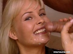 Lewd blonde Nikky Anderson is having fun with two horny men. She drives them crazy with her cock-sucking talent and then welcomes their schlongs in her ass and cunt.