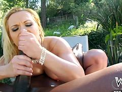 Blonde lets black guy to stick his huge monster deep down her tight little ass hole