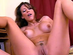 Sexy brunette babe Layla spreads her legs,gets her cunt licked and banged by a hunk stud